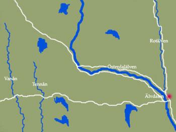 Karta över strömmande vatten i Dalarna